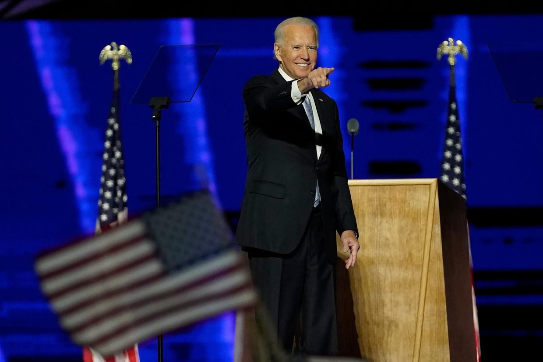 Joe Biden na zijn overwinningsspeech zaterdag.