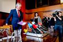 Burgemeester van Tilburg Theo Weterings en Ariene Rietveld, arts infectieziektebestrijding GGD Hart van Brabant staan in het de pers te woord over de eerste bekende Nederlandse coronapatient.