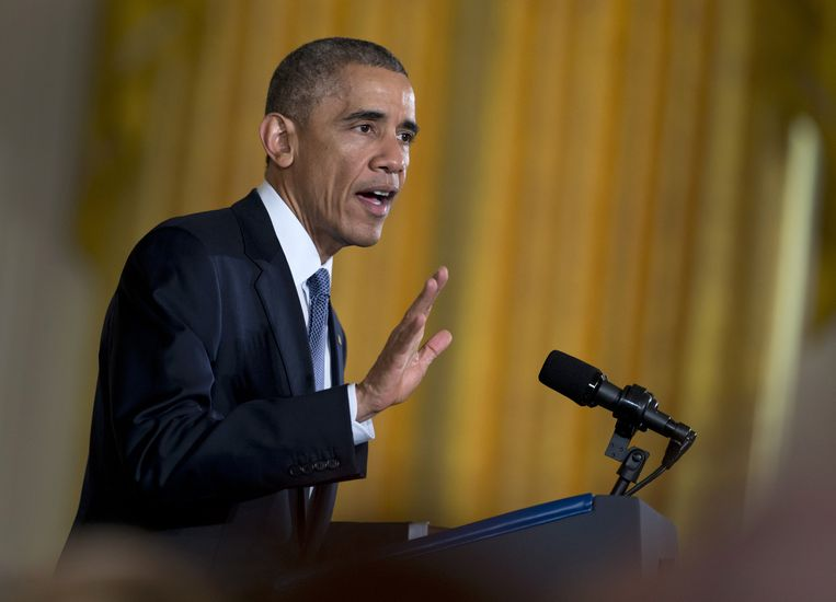 Obama, eerder vandaag in Washington. Beeld ap