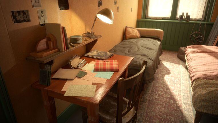 De slaapkamer van Anne Frank in het Achterhuis in Amsterdam.  Beeld Anne Frank Stichting/Force Field XR
