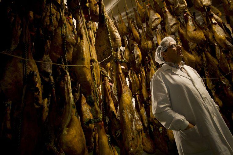 Directeur Arturo Sanchez poseert voor de befaamde Ibérico-hammen in Guijuelo, 7 mei 2013. De familie Sanchez legt zich al drie generaties lang toe op de productie van deze exclusieve ham-soort.  Beeld Hollandse Hoogte / AFP
