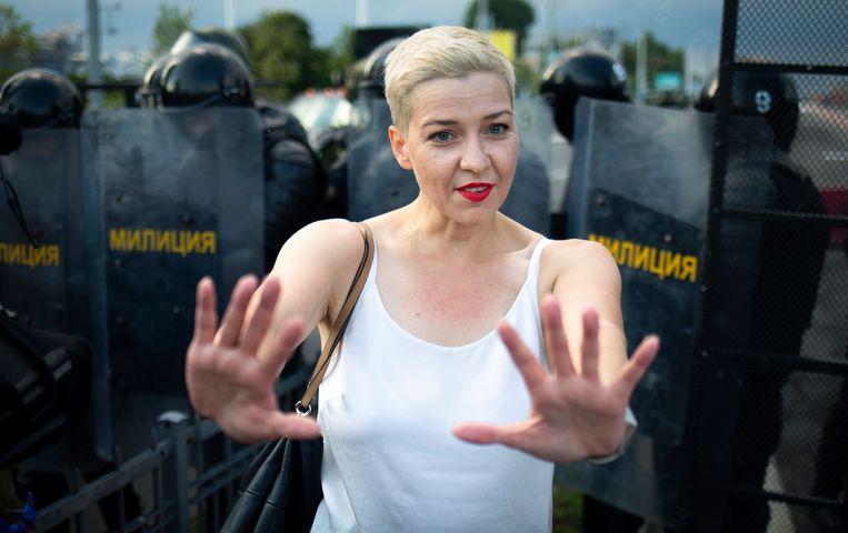 Archiefbeeld. Activiste van de oppositie Maria Kolesnikova voordat ze gevangen werd genomen.  (30/08/2020) Beeld AP