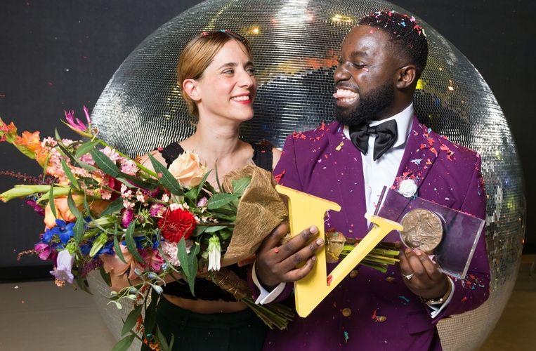 Prijswinnaars Naomi Velissariou en Emmanuel Ohene Boafo. Beeld Ivo van der Bent