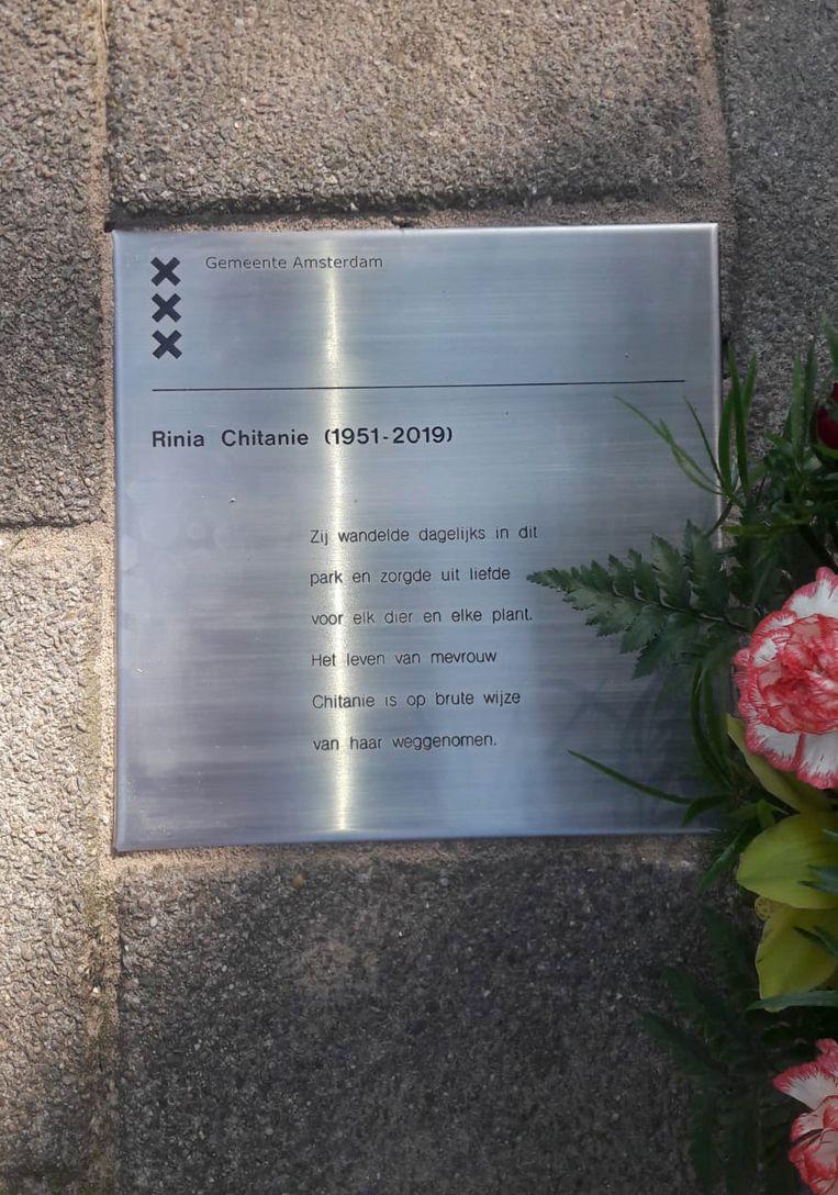 De gedenksteen voor Rinia Chitanie in Buitenveldert. Beeld -