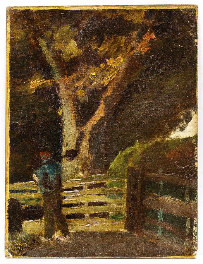 Het schilderijtje Boer met Spade dat Vincent van Gogh mogelijk heeft gemaakt in zijn Haagse periode.