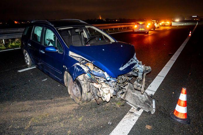 Eén van de twee betrokken auto's op de A59.
