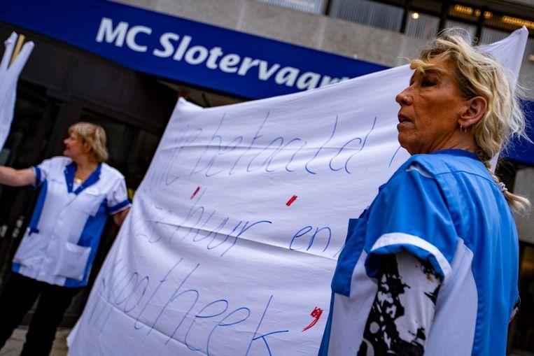 Medewerkers voerden actie voor de deur, kort voordat het faillissement bekend werd gemaakt. Beeld anp