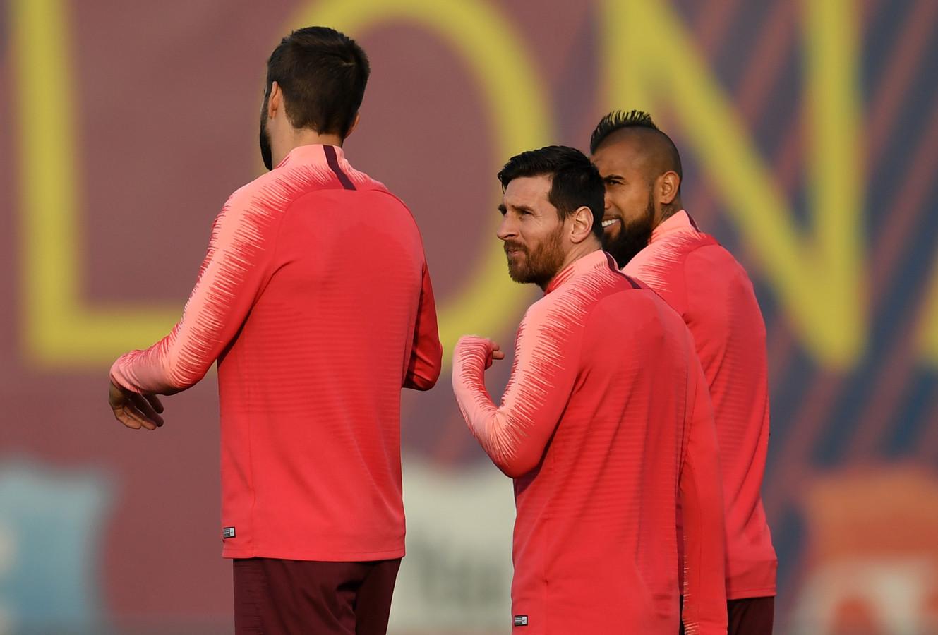Lionel Messi tijdens de training van Barcelona voor het CL-duel met Manchester United.