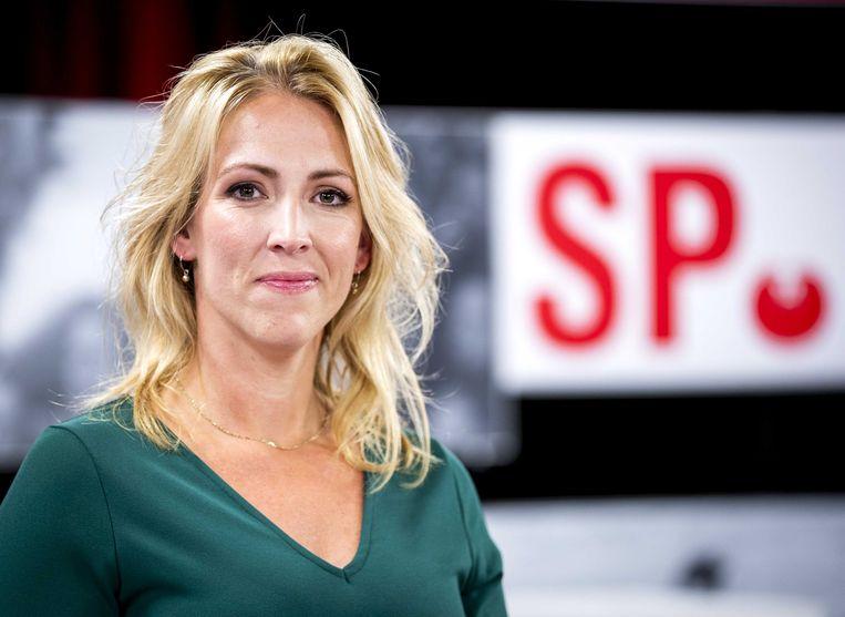 Partijleider Lilian Marijnissen eerder dit jaar bij haar herverkiezing tot partijvoorzitter.  Beeld ANP - Remko de Waal