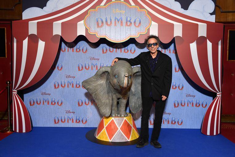 Regiesseur Tim Burton tijdens een vertoning van Dumbo in Parijs. Beeld Getty Images For Disney Studios