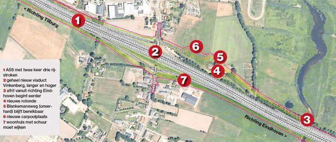Ingrepen bij Moergestel wanneer snelweg A58 wordt verbreed.