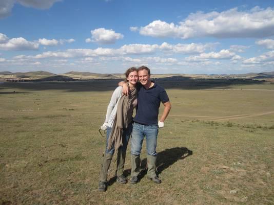 Diane vandeSmet en Harm Fitié in Binnen-Mongolië.