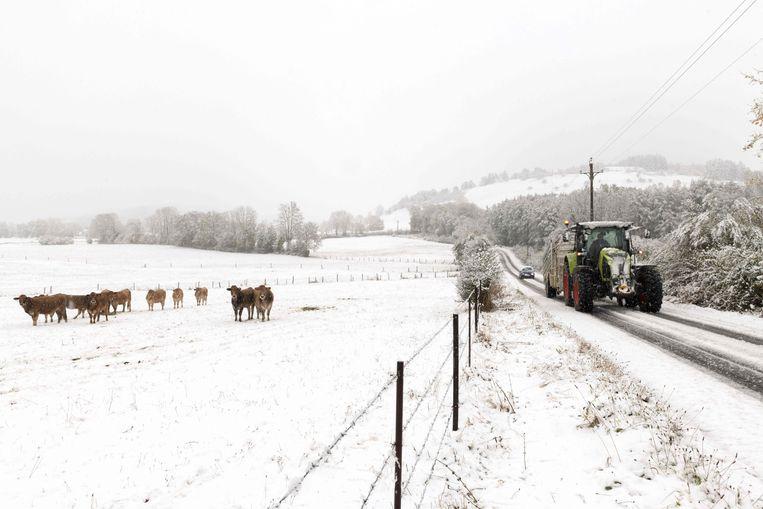 Sneeuw in Orcival, in de Franse Auvergne.