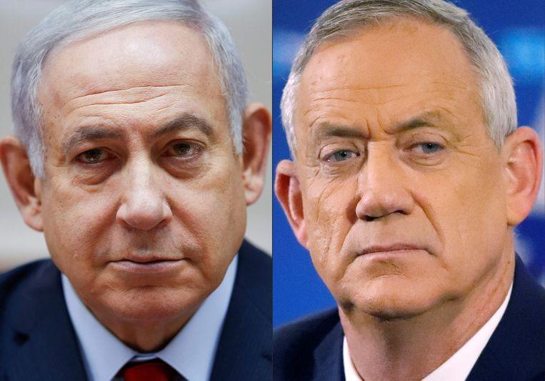 Benjamin Netanyahu en Benny Gantz.  Beeld AFP