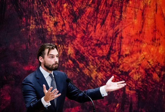 Thierry Baudet (FvD) tijdens het debat in de Tweede Kamer over het eindverslag van de informateur.