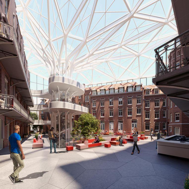 Artist's impression van de nieuwe bibliotheek. Beeld MVSA Architects