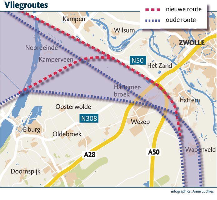 """Het ministerie en Luchtverkeersleiding Nederland hebben de vertrekroute over de Noord-Veluwe iets verschoven. ,,Het probleem wordt verplaatst"""", vindt HoogoverWezep."""