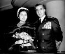 Soraya Esfandiari Bakhtiari, en haar echtgenoot, de sjah van Iran, in 1955