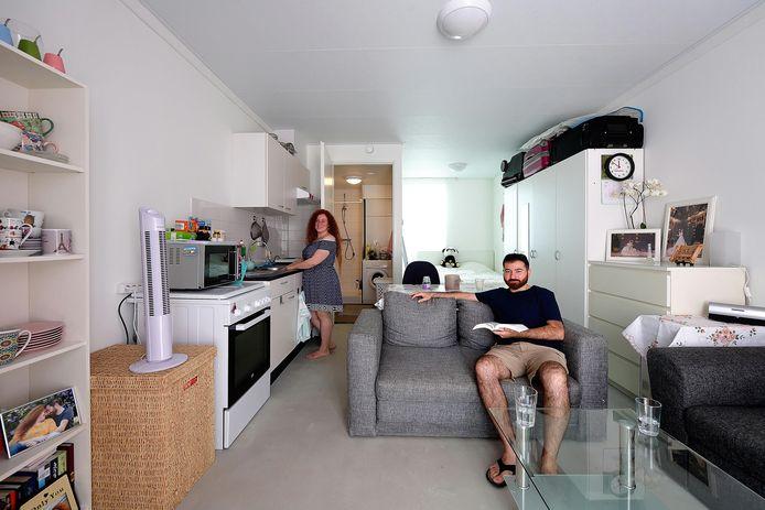 Het interieur van een van de tiny houses die Alwel in 2019 al in Roosendaal plaatste. Soortgelijke woningen komen waarschijnlijk ook aan de Tamboerijn in Etten-Leur.