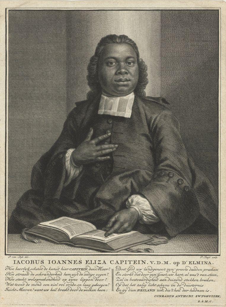 Jacobus Elisa Johannes Capitein (1717 – 1747) was waarschijnlijk de eerste zwarte predikant en de eerste gepromoveerde zwarte Afrikaan. Hoewel hij zelf een voormalig slaaf was, verdedigde hij in een academische verhandeling dat christenen in slavernij mochten worden gehouden.   Beeld Sepia Times/ Getty