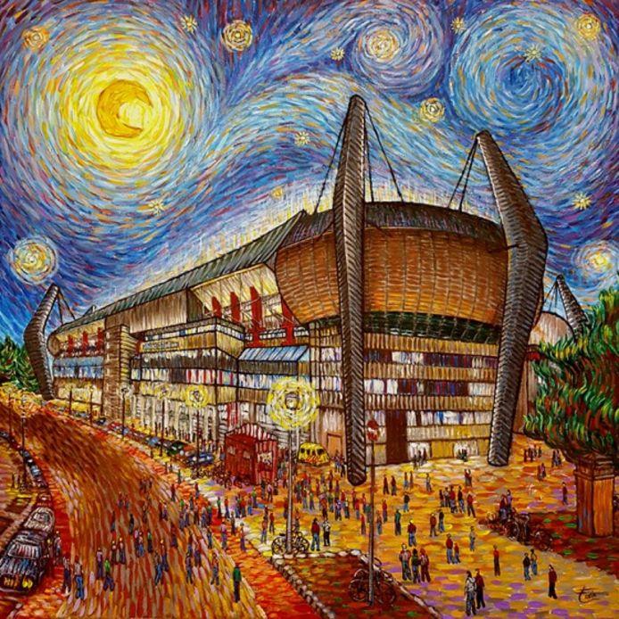 Het Philips Stadion in Eindhoven als schilderij van Van Gogh .