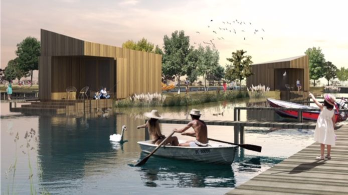 Impressies van de luxere vakantiewoningen die op de Kurenpolder komen.