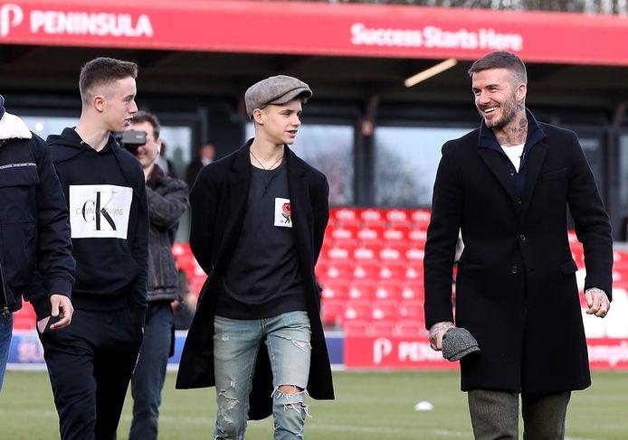 Harvey Neville, Romeo Beckham en David Beckham.