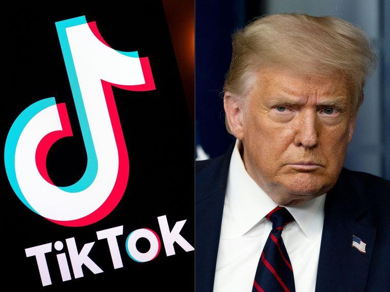 Het logo van TikTok en de Amerikaanse president Trump. Beeld AFP