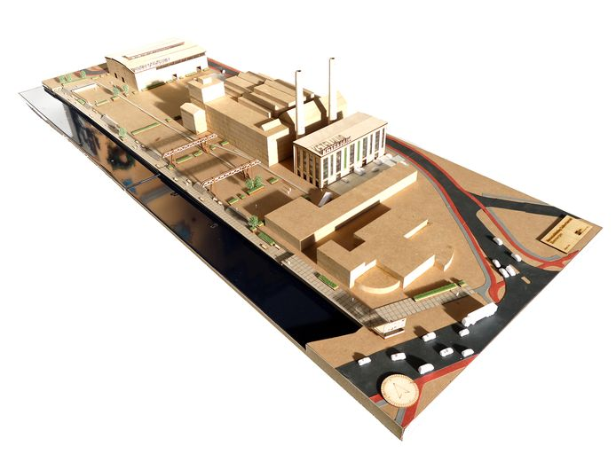 Maquette van het plan voor nieuwe wijk  in het gebied bij de suikerfabriek in Zevenbergen