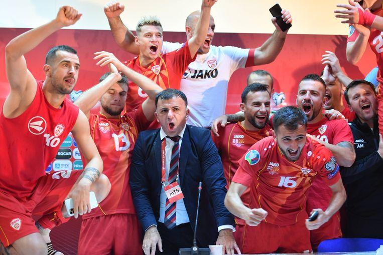 Spelers van Noord-Macedonië vieren de overwinning tegen Georgië. Beeld BSR Agency