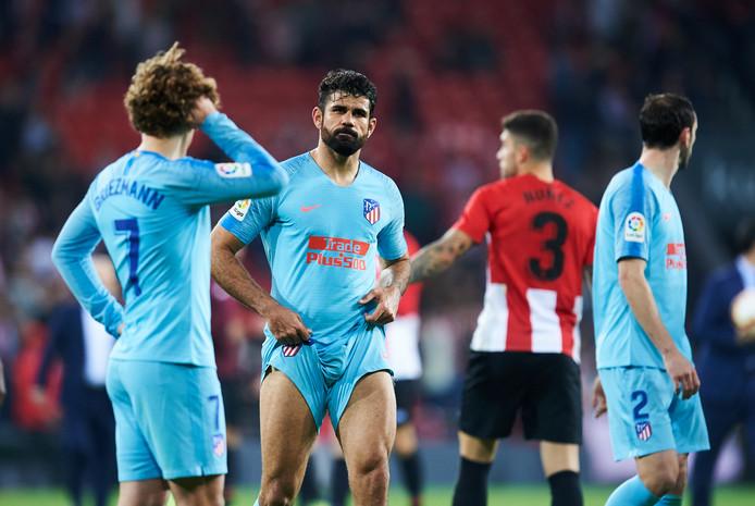 Teleurstelling bij Diego Costa en Griezmann na het verlies in Bilbao.