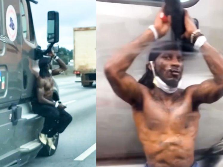 Halfnaakte man neemt opvallende lift op snelweg