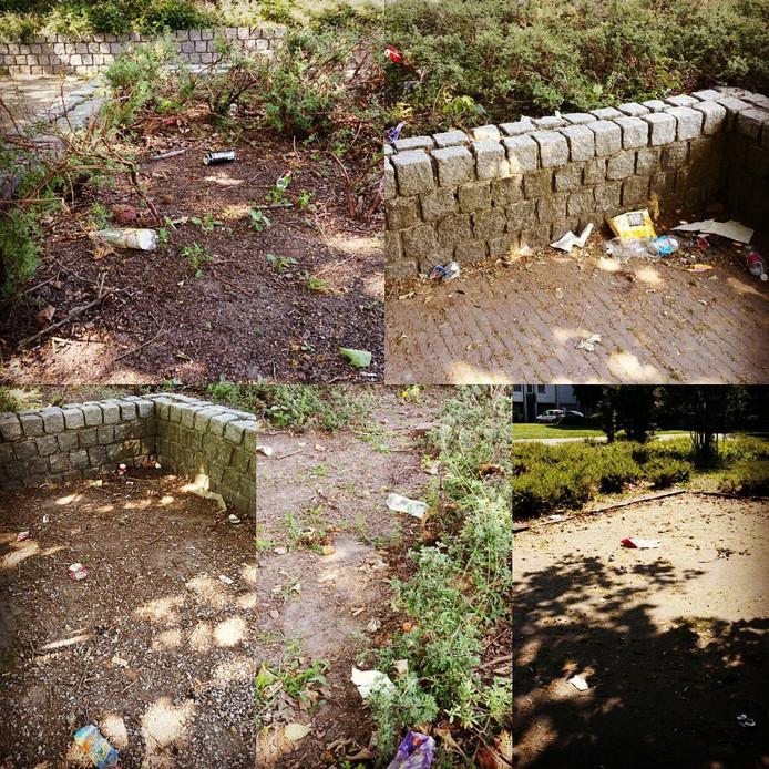 In het parkje aan de Koningin Julianastraat in Emmeloord worden blikjes, plastic flesjes en snoepverpakkingen achtergelaten.