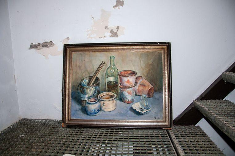 Het in de kelder van café Schiller gevonden, niet-gedateerde stilleven van Frits Schiller. Beeld
