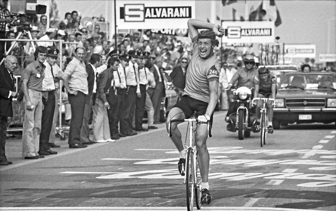André Gevers toen hij eind augustus 1975 wereldkampioen werd.