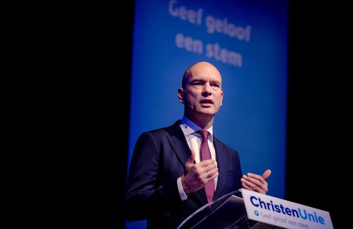 Partijleider Gert-Jan Segers spreekt tijdens het 39e partijcongres van de ChristenUnie in Zwolle.