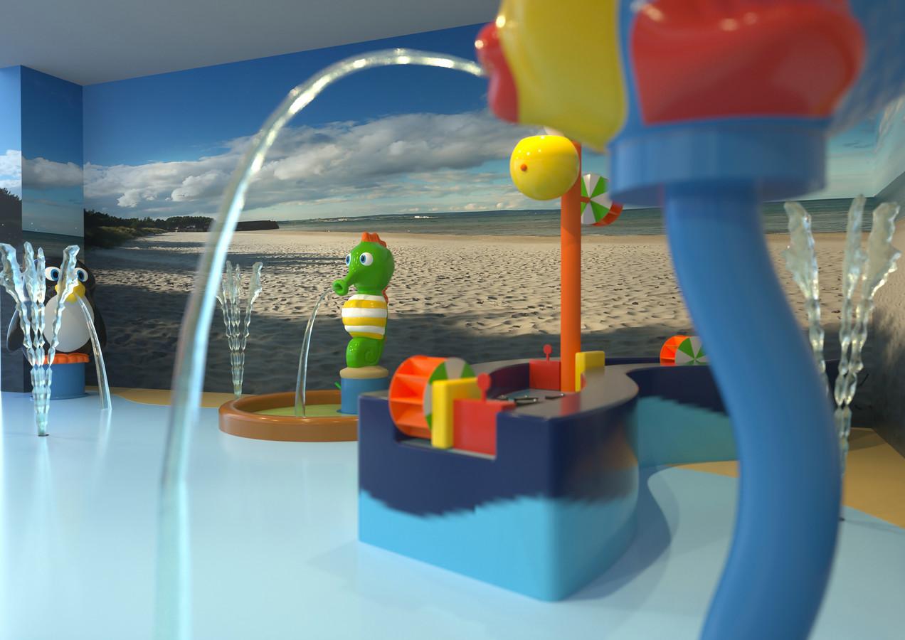 Een ontwerpbeeld van enkele speelelementen die in oktober in de Alk zullen staan.