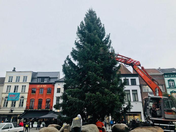 De kerstboom van Aalst staat op de Grote Markt.