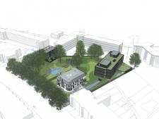 Plan voor appartementen achter Villa Trianon aan de Baronielaan