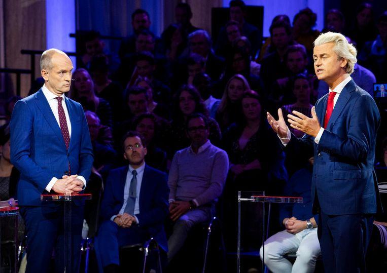 Gert-Jan Seegers (CU) en Geert Wilders (PVV). Beeld anp
