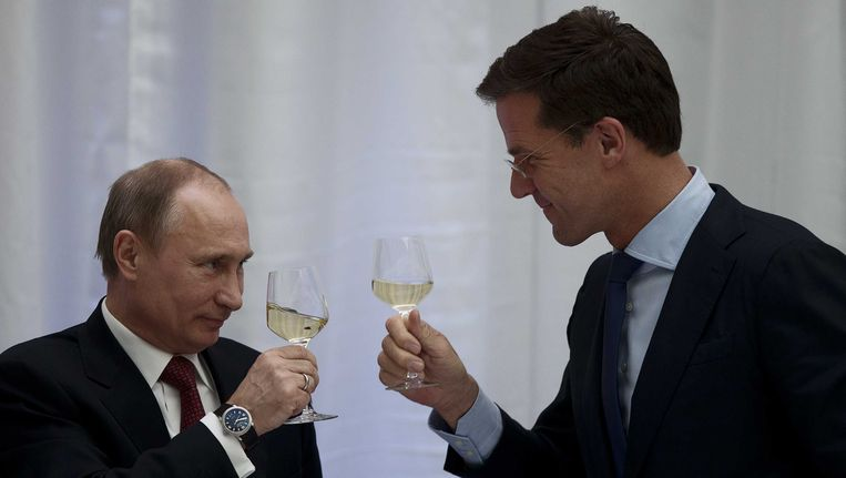 Vladimir Poetin en Mark Rutte Beeld anp