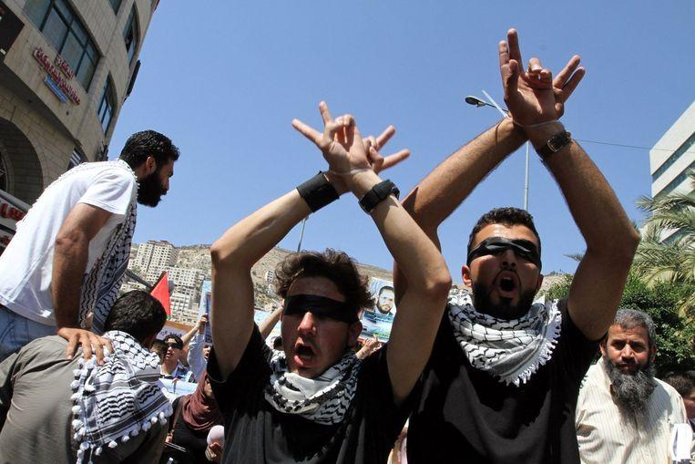 Palestijnen in Nablus demonstreren uit solidariteit met hongerstakers in Israëlische gevangenissen Beeld epa