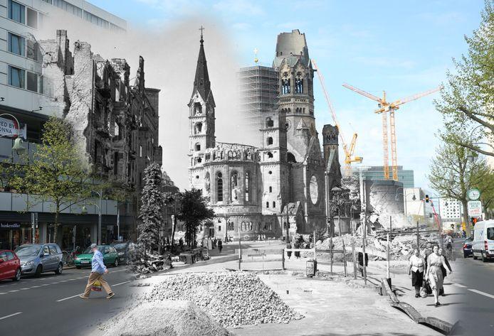 De Kaiser-Wilhelm-Gedächtniskirche raakte zwaarbeschadigd door een bombardement in de oorlog. In deze montage is te zien dat de Tauentzienstraße nu een drukke winkelstraat is, bekend van onder meer Kaufhaus des Westens.