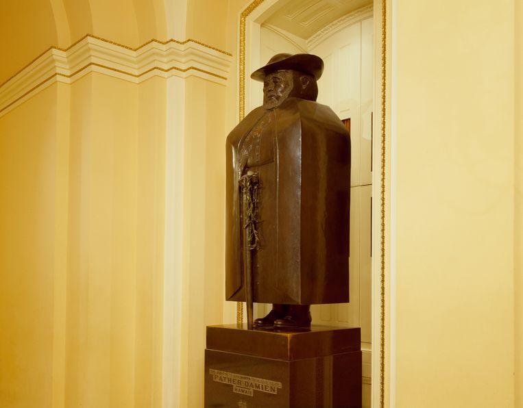 Het standbeeld van Pater Damiaan in het Amerikaanse Congres. Beeld Getty Images