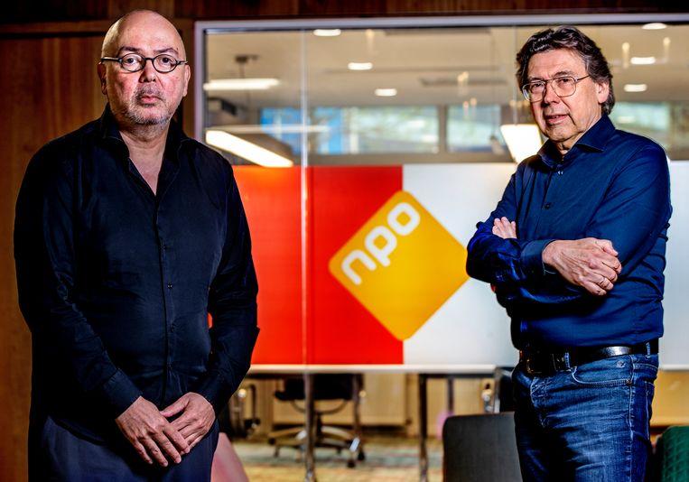 Frans Klein (links), directeur NPO Video, en Gijs van Beuzekom, netmanager NPO 2. Beeld Pim Ras Fotografie