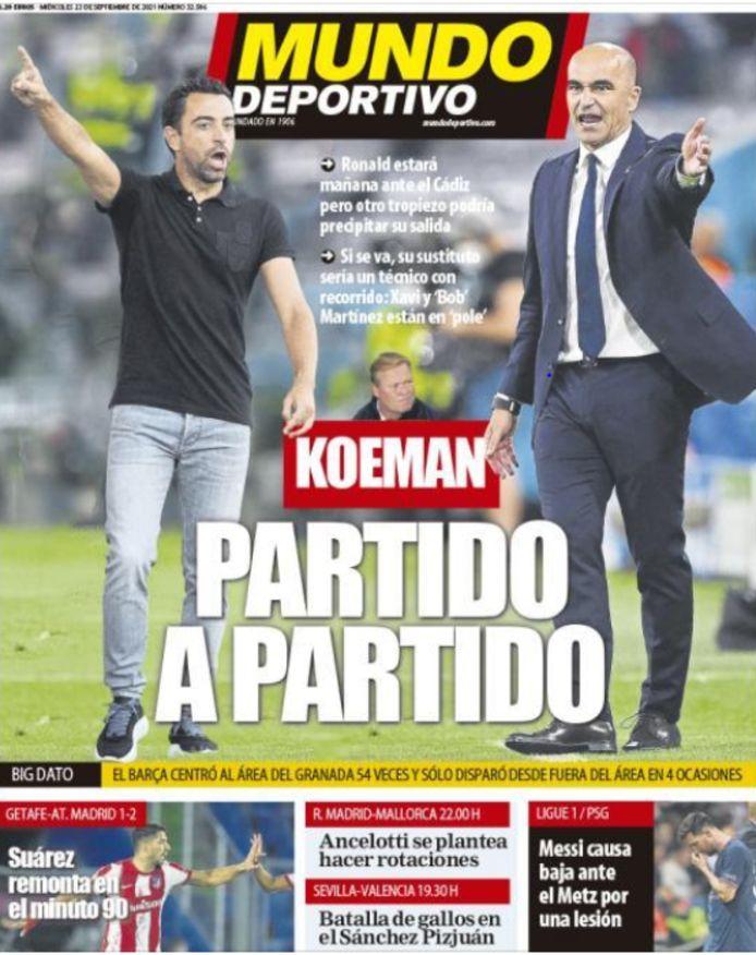 De cover van Mundo Deportivo, met Xavi en Martínez.