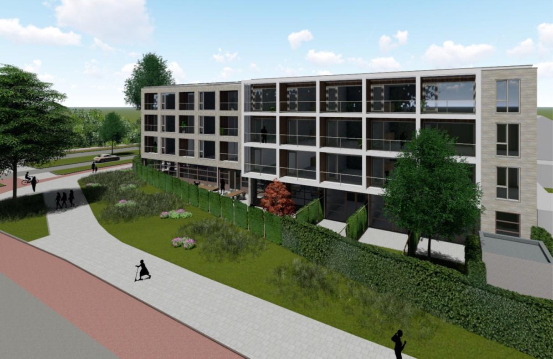 Impressie van de nieuwbouw voor Siza met 44 wooneenheden voor mensen met een licht-verstandelijke beperking aan de Eimerssingel-West in Arnhem-Zuid.