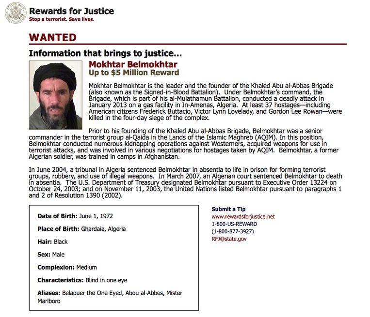 De VS hebben een prijs van vijf miljoen dollar op het hoofd gezet van de Algerijnse jihadist Belmokhtar. Beeld ap