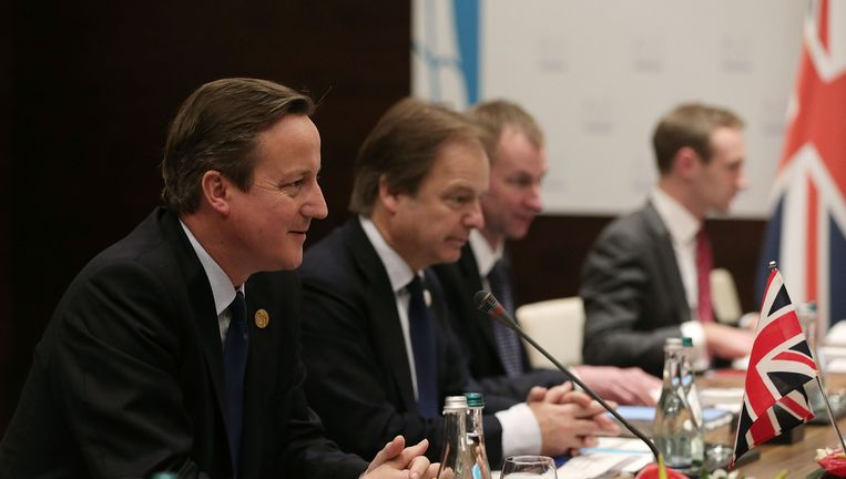 Premier Cameron van Groot-Brittannië dit weekend in Antalya in Turkije voor de G20-top. Beeld getty