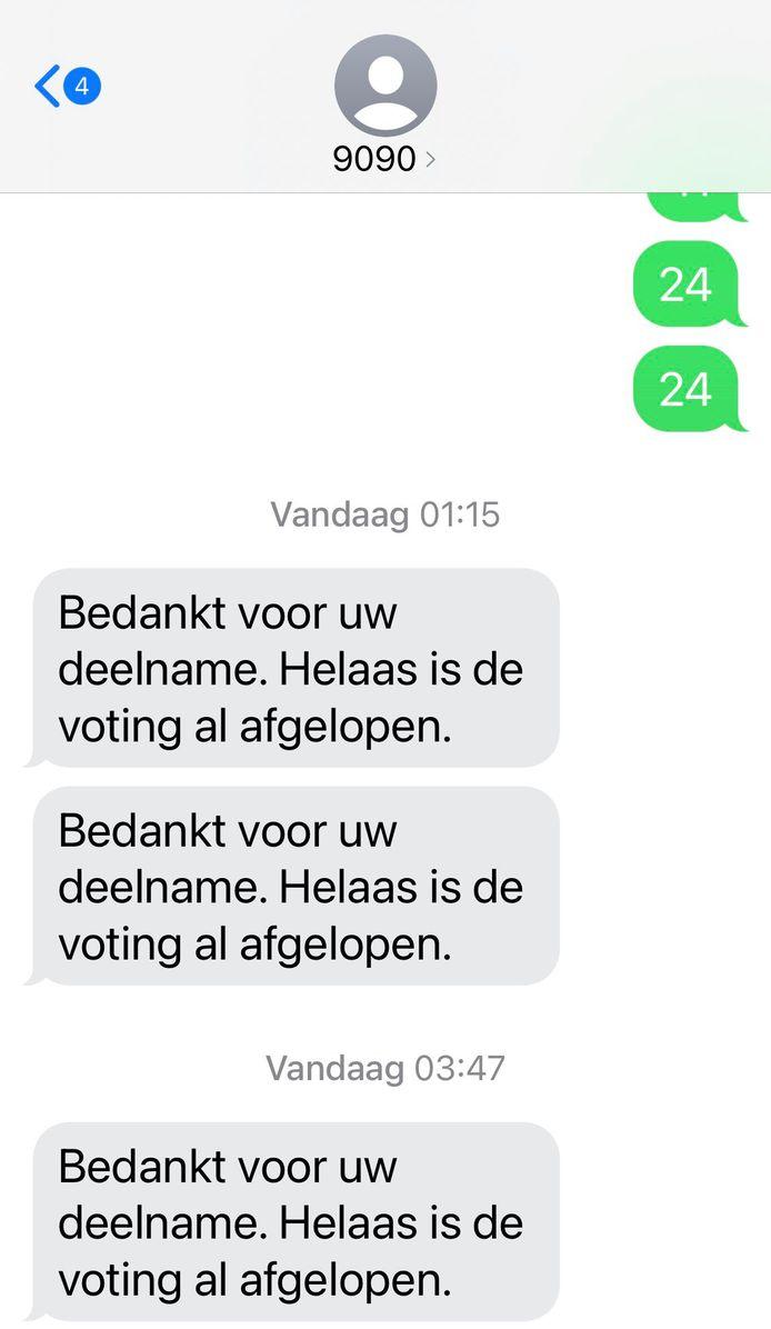 Op social media posten veel stemmers van het Songfestival een schermafbeelding van het berichtje dat ze ontvingen waarin staat dat ze hun stem te laat zouden hebben ingediend.